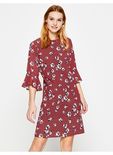 Koton Çiçekli Elbise Kırmızı